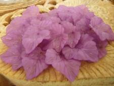 80 pce Frosted Acrylic Purple Leaf Bead / Pendants 24mm x 22mm
