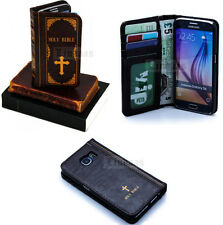 Antique Retro Classic Holy Bible Book Leather Case Cover Wallet For Samsung S6