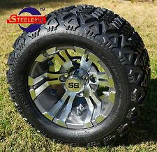 "GOLF CART 10"" GUNMETAL VAMPIRE WHEELS/RIMS and 18""x9""-10"" DOT ALL TERRAIN TIRES"