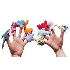 10PCS Marine Animal Cloth Doll Finger Puppets Family Story Hand Cartoon Toy Gift