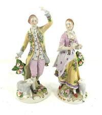 COPPIA tedesca Sitzendorf figure di porcellana di LADY & Uomo con Lambs & Flowers