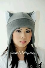 Grey cat ears fleece winter hat snowboarding ski Goth Punk Anime Cosplay Costume