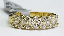 Solid 14K Yellow Gold Princess & Round Prong Cubic Zirconia Fancy Band - Size 7