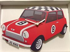HANDMADE WOODEN RED MINI WITH CHEQUERED ROOF CAR CLOCK