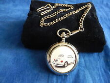 OLD VW VOLKSWAGON BEETLE CONVERTIBLE CHROME POCKET WATCH WITH CHAIN (NEW)