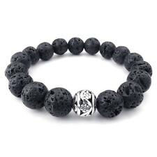 Charm Mens Black 12mm Silver Energy Lava Rock and Silver Bead Bangle Bracelet
