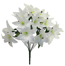 14 Tiger Lilies Lily ~ WHITE ~ Silk Wedding Flowers Bridal Centerpieces Decor