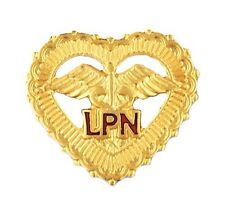 LPN Open Heart Pin Caduceus Beaded w/Safety Catch Nurse Gold Plated New