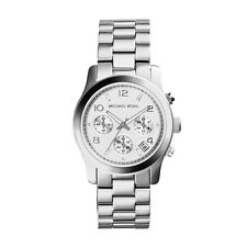 EX DISPLAY MICHAEL KORS MK5076 LADIES SILVER RUNWAY WATCH - 2 YEARS WARRANTY