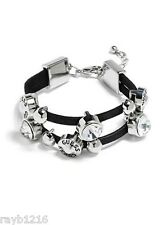 NWT Guess Black Faux Leather-Silver Metal-Clear Rhinestones Slide Beads Bracelet