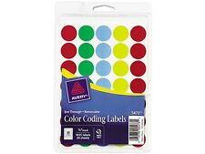 """Avery 05473 See-Through Removable Color Dots, 3/4"""" dia, Assorted Colors, 1015/Pa"""