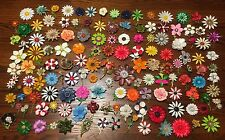HUGE Lot 140 Vintage Enamel Metal Flower Pins Brooches Wedding Decor