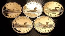 LOT of 5 RARE Canada PROOF ONE DOLLAR Coins: 1997-2001 - UNC PF $1 LOT!