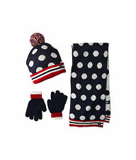 NWT U.S. POLO ASSN. Polka Dot Cuffed Beanie Set Cozy Scarf Hat Gloves Navy -