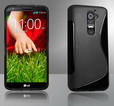 Black Premium S Curve Jelly Case Cover for LG G2 / D802 + Screen Guard