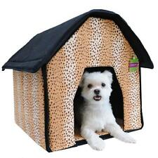 Portable Pet House Bed Collapsible Warm Soft Indoor For Dogs/Cats Lepoard Print