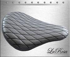 """16"""" La Rosa Silver Metallic Diamond Stitch Harley Chopper Bobber Rigid Solo Seat"""