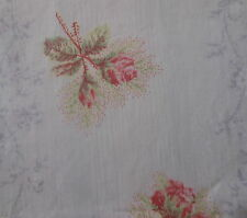 Antique French Cottage Moss Roses Fabric ~ Strawberry Pink White Gray Soft Green