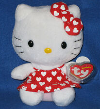 TY HELLO KITTY BEANIE BABY in RED DRESS with WHITE HEARTS - MINT TAGS