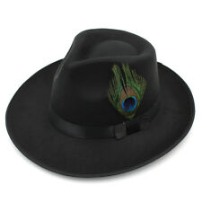 Men Women Panama Hats Fedora Trilby Caps Felt Peacock Feather Band Wide Brim