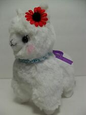 """Antique"" Alpacasso White Alpaca Red Flower & Pearls 16cm Plush Amuse Arpakasso"