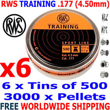 RWS TRAINING .177 4.50mm Airgun Pellets 6 (tins)x500pcs (10m RIFLE) 0,53g