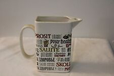 Vintage Porcelain Pitcher with 'Cheers' in Many Languages
