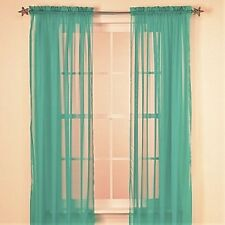 "SOLID TEAL GREEN 2 PANELS SOFT SHEER VOILE WINDOW CURTAIN TREATMENT 55"" X 63"""