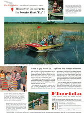Florida Everglades Propeller-Driven Airboat SEMINOLE INDIAN Gay Resorts 1959 Ad