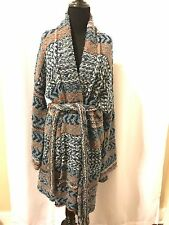 NWT Free People Iona Belted Blue Combo Printed Cardigan Cardigan Sweater Size L