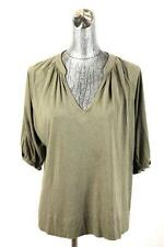 womens olive green VINCE v-neck knit shirt top blouse casual modern cotton LARGE