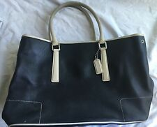 COACH LEATHER MIDNIGHT BLUE NAVY WHITE TOTE SHOULDER BAG PURSE