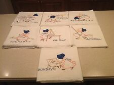 Vintage Embroidered Dish Towels Days of The Week Applique Blue Bonnet Girls  7