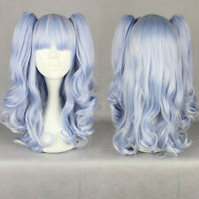 Fashion Women light blue Long Wavy Curly Cosplay Party Wig Clip on Ponytails
