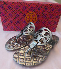 NIB Tory Burch Quilted Marion Metallic Miller Leather Sandal Thong Gunmetal 11