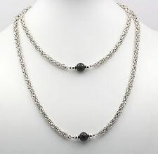 ♦ Hals Kette in aus 800er Silber mit Onix Onyx Königskette Silberkette Collier ♦