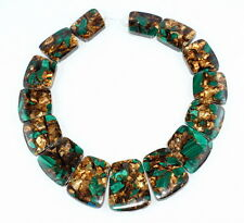 COPPER BRONZE MALACHITE GEMSTONE AA 23X16-35X29MM GRADUATED SET LOOSE BEADS