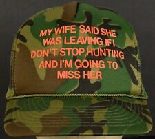 Wife Leaving If Hunting Camo Mesh Trucker Hat Cap With Adjustable Snapback Strap