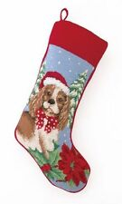 "SPANIEL DOG NEEDLE POINT STOCKING 11X18"" 100% WOOL THREAD,  CHRISTMAS DECOR"