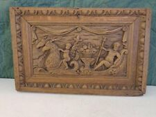 Ornate Antique Vintage Heavily Carved Wood Wall Plaque Carving Sculpture Door