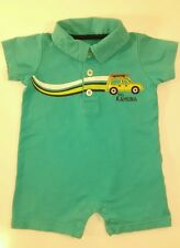 Carter's 3m Baby Boy Big Kahuna Blue One-Piece Snap Collared Shorts Outfit