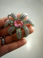 Statement KJL Kenneth Jay Lane green pink crystal silver tone flower pin brooch