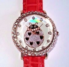 New Rose Gold Red Croc Band LADYBUG Bling Watch