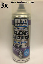 3x Automotive Clear Lacquer Spray Paint Aerosol Can Auto Extreme 400ml On Sale