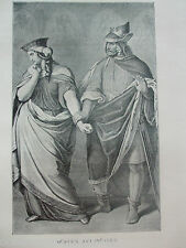 ANTIQUE PRINT C1910 GUNTHER AND BRUNHILD FAMOUS AUTHORS LITERATURE VINTAGE