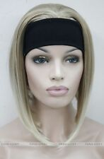 Hivision Blonde Mixed Cute 3/4 wig with headband Women Daily Wig half FTTLD105