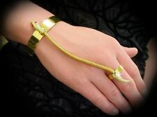 SNAKE ASP SERPENT Ethnic Tribal Gold Tone SLAVE BRACELET CUFF & RING JEWELRY New