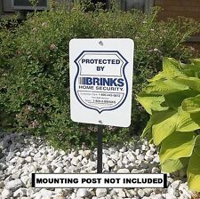 METAL Brinks ADT home security burglar alarm system in use warning yard sign