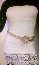 WOMEN GRAY WAIST BRAIDED FASHION BELT WITH BIG FLOWER AND RHINESTONES S M L XL