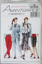 AVANTGARDE Sewing Pattern #V21078 MISSES JACKET VEST SKIRT PANT Size 12-26 UNCUT
